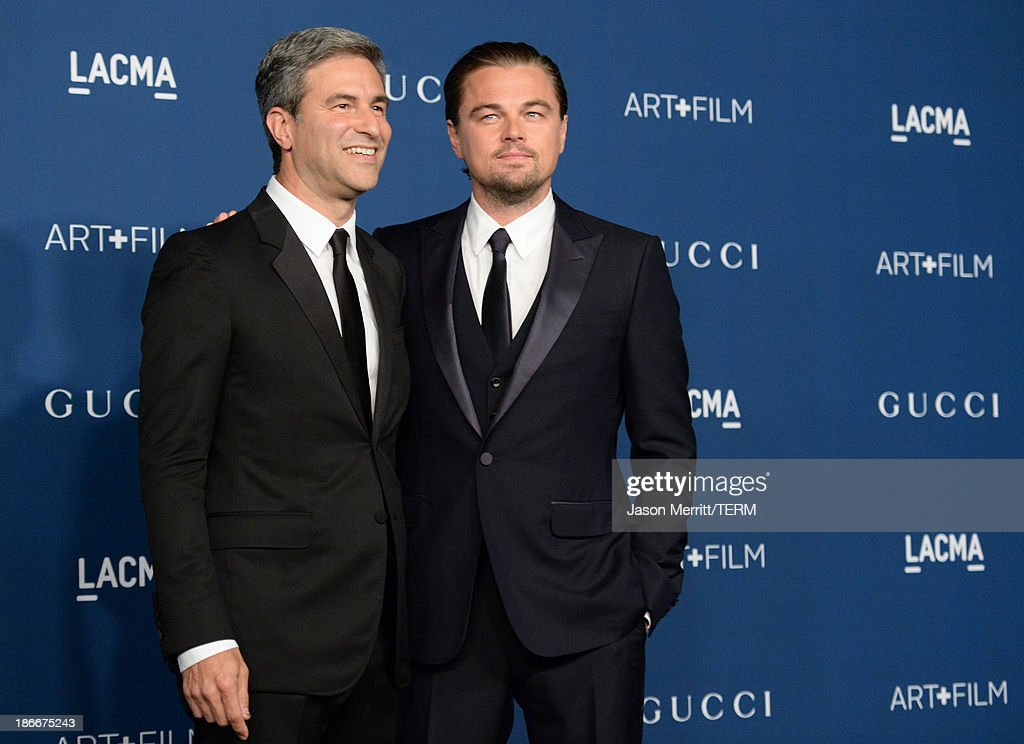 Director and CEO Michael Govan and Gala Co-Chair Leonardo DiCaprio, wearing Gucci, attend the LACMA 2013 Art + Film Gala honoring Martin Scorsese and David Hockney presented by Gucci at LACMA on November 2, 2013 in Los Angeles, California.