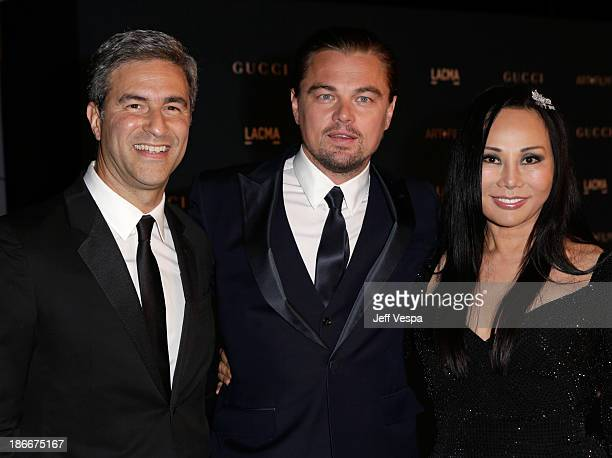 LACMA Director and CEO Michael Govan and Gala CoChairs Leonardo DiCaprio and Eva Chow wearing Gucci attend the LACMA 2013 Art Film Gala honoring...