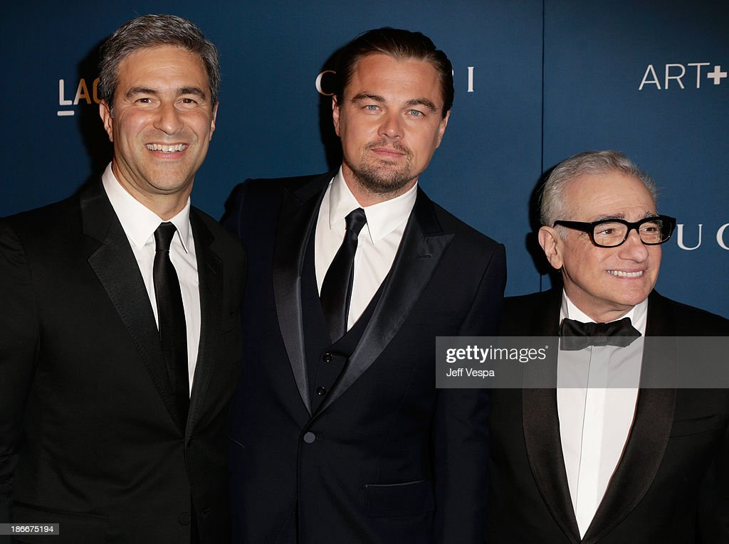 Director and CEO Michael Govan, Gala Co-Chair <a gi-track='captionPersonalityLinkClicked' href=/galleries/search?phrase=Leonardo+DiCaprio&family=editorial&specificpeople=201635 ng-click='$event.stopPropagation()'>Leonardo DiCaprio</a> and honoree <a gi-track='captionPersonalityLinkClicked' href=/galleries/search?phrase=Martin+Scorsese&family=editorial&specificpeople=201976 ng-click='$event.stopPropagation()'>Martin Scorsese</a>, wearing Gucci, attend the LACMA 2013 Art + Film Gala honoring <a gi-track='captionPersonalityLinkClicked' href=/galleries/search?phrase=Martin+Scorsese&family=editorial&specificpeople=201976 ng-click='$event.stopPropagation()'>Martin Scorsese</a> and David Hockney presented by Gucci at LACMA on November 2, 2013 in Los Angeles, California.