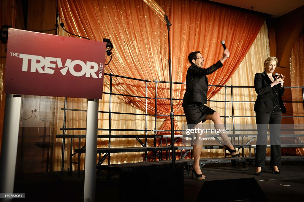 Director and CEO of the Trevor Foundation Abbe Land speaks on stage with actress <a gi-track='captionPersonalityLinkClicked' href=/galleries/search?phrase=Jane+Lynch&family=editorial&specificpeople=663918 ng-click='$event.stopPropagation()'>Jane Lynch</a> at The Trevor Project's 2013 'TrevorLIVE' Event Honoring Cindy Hensley McCain at Chelsea Piers on June 17, 2013 in New York City.