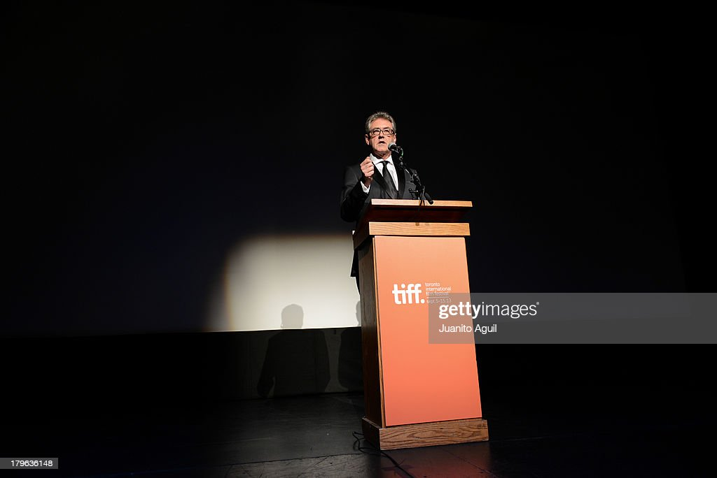 Director and Chief Executive Officer of TIFF <a gi-track='captionPersonalityLinkClicked' href=/galleries/search?phrase=Piers+Handling&family=editorial&specificpeople=2246965 ng-click='$event.stopPropagation()'>Piers Handling</a> speaks onstage at the premiere of 'Blue Is The Warmest Color' at Winter Garden Theatre on September 5, 2013 in Toronto, Canada.Ê