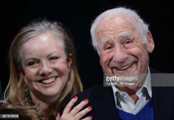 Director and choreographer Susan Stroman with Mel Brooks at a photocall for Mel Brooks' musical comedy Young Frankenstein at the Garrick Theatre...