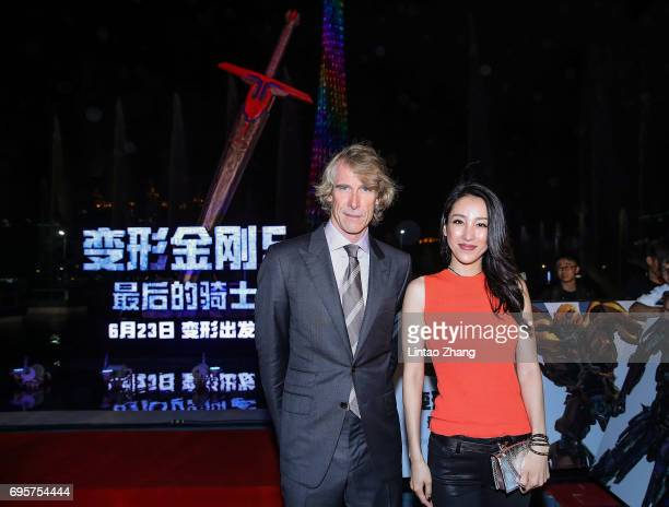 Director and Executive Producer Michael Bay and Actress Jane Wu attends the 'Transformers The Last Knight' China World Premiere and Ten Year...
