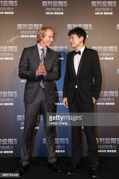 Director and Executive Producer Michael Bay and Singer Jason Zhang attend the 'Transformers The Last Knight' China World Premiere and Ten Year...