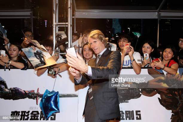 Director and Executive Producer Michael Bay greets fans during the 'Transformers The Last Knight' China World Premiere and Ten Year Anniversary...