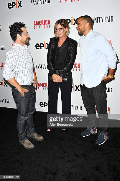 Director and host committee member JJ Abrams host committee member Katie McGrath and actor Jesse Williams attend the Premiere of Epix's 'America...