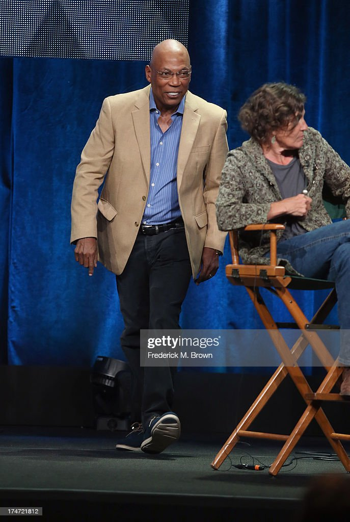 Director and President of the Directors Guild of America Paris Barclay and Director Gwyneth Horder-Payton speak onstage during 'FX Directors' panel as part of the 2013 Summer Television Critics Association tour at the Beverly Hilton Hotel on July 28, 2013 in Beverly Hills, California.