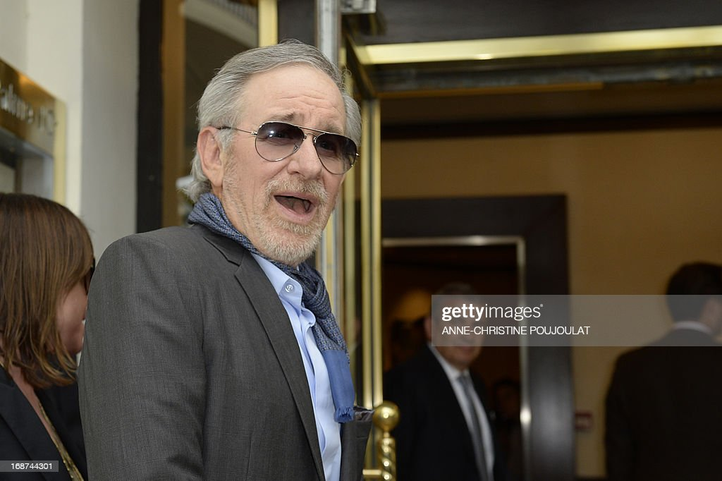 US director and President of the Feature Film Jury, Steven Spielberg, arrives on May 14, 2013 at the Martinez Hotel in Cannes to attend a photocall of the Jury on the eve of the 66th edition of the Cannes Film Festival. Cannes, one of the world's top film festivals, opens on May 15 and will climax on May 26 with awards selected by a jury headed this year by Hollywood legend Steven Spielberg.