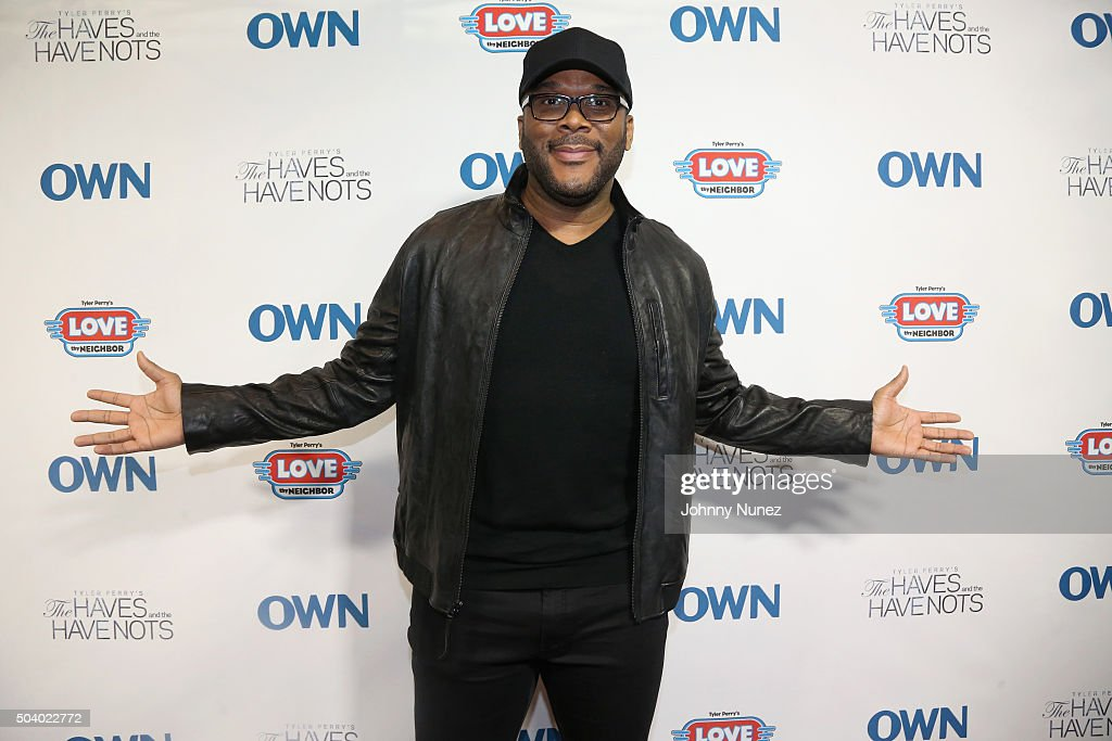 Director and Producer Tyler Perry attends the OWN Press Lunch with Tyler Perry and the casts of 'The Haves and the Have Nots' and 'Love Thy Neighbor' on January 8, 2016 in New York City.