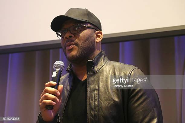 Director and Producer Tyler Perry speaks onstage during the OWN Press Lunch with Tyler Perry and the casts of 'The Haves and the Have Nots' and 'Love...