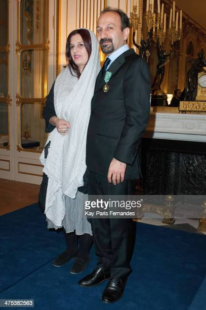 Director and screenwriter Asghar Farhadi with his wife Director Parisa Bakhtavar at the Ministere de la Culture on February 27 2014 in Paris France