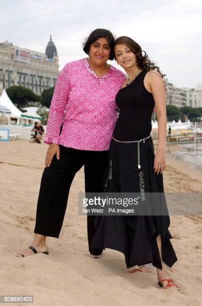 Director and screenwriter Gurinder Chadha and actress Aishwarya Rai on the beach at the Cannes film Festival to promote her new film 'Pride and...