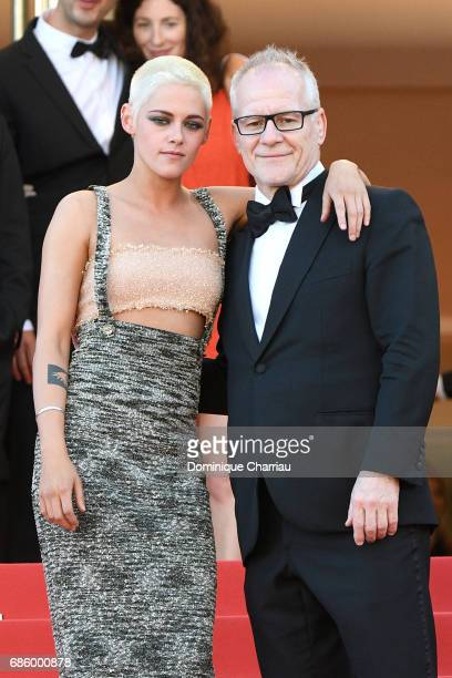 Director and screenwriter Kristen Stewart and Director of the Cannes Film Festival Thierry Fremaux attend the '120 Beats Per Minute ' screening...