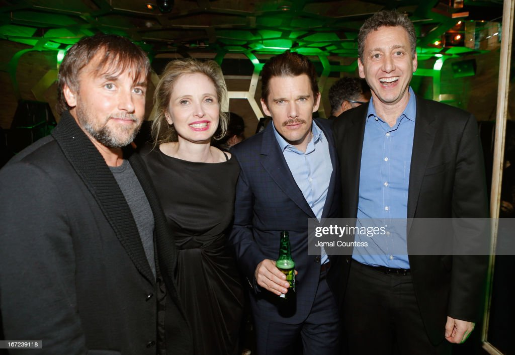 Director and screenwriter <a gi-track='captionPersonalityLinkClicked' href=/galleries/search?phrase=Richard+Linklater&family=editorial&specificpeople=242770 ng-click='$event.stopPropagation()'>Richard Linklater</a>, actress <a gi-track='captionPersonalityLinkClicked' href=/galleries/search?phrase=Julie+Delpy&family=editorial&specificpeople=201914 ng-click='$event.stopPropagation()'>Julie Delpy</a>, actor <a gi-track='captionPersonalityLinkClicked' href=/galleries/search?phrase=Ethan+Hawke&family=editorial&specificpeople=178274 ng-click='$event.stopPropagation()'>Ethan Hawke</a> and <a gi-track='captionPersonalityLinkClicked' href=/galleries/search?phrase=John+Sloss&family=editorial&specificpeople=228119 ng-click='$event.stopPropagation()'>John Sloss</a> attend the Tribeca Film Festival 2013 After Party 'Before Midnight' sponsored by Heineken on April 22, 2013 in New York City.