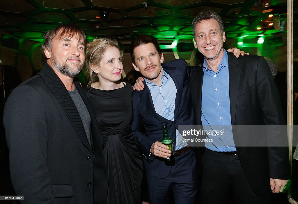Director and screenwriter <a gi-track='captionPersonalityLinkClicked' href=/galleries/search?phrase=Richard+Linklater&family=editorial&specificpeople=242770 ng-click='$event.stopPropagation()'>Richard Linklater</a>, actress <a gi-track='captionPersonalityLinkClicked' href=/galleries/search?phrase=Julie+Delpy&family=editorial&specificpeople=201914 ng-click='$event.stopPropagation()'>Julie Delpy</a>, actor <a gi-track='captionPersonalityLinkClicked' href=/galleries/search?phrase=Ethan+Hawke&family=editorial&specificpeople=178274 ng-click='$event.stopPropagation()'>Ethan Hawke</a> and Founder of Cinetic Media <a gi-track='captionPersonalityLinkClicked' href=/galleries/search?phrase=John+Sloss&family=editorial&specificpeople=228119 ng-click='$event.stopPropagation()'>John Sloss</a> attend the Tribeca Film Festival 2013 After Party 'Before Midnight' sponsored by Heineken on April 22, 2013 in New York City.