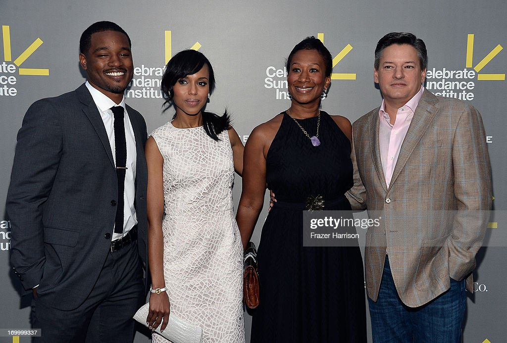Director and Vanguard Award recipient <a gi-track='captionPersonalityLinkClicked' href=/galleries/search?phrase=Ryan+Coogler&family=editorial&specificpeople=7316581 ng-click='$event.stopPropagation()'>Ryan Coogler</a>, actress and Vanguard Award presenter <a gi-track='captionPersonalityLinkClicked' href=/galleries/search?phrase=Kerry+Washington&family=editorial&specificpeople=201534 ng-click='$event.stopPropagation()'>Kerry Washington</a>, Ambassador Nicole Avant (Ret.), and Netflix Chief Content Officer <a gi-track='captionPersonalityLinkClicked' href=/galleries/search?phrase=Ted+Sarandos&family=editorial&specificpeople=2137714 ng-click='$event.stopPropagation()'>Ted Sarandos</a> attend the 2013 'Celebrate Sundance Institute' Los Angeles Benefit hosted by Tiffany & Co. at The Lot on June 5, 2013 in West Hollywood, California.