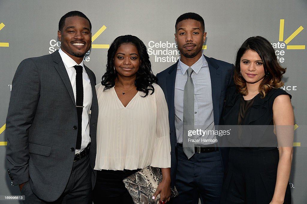Director and Vanguard Award recipient <a gi-track='captionPersonalityLinkClicked' href=/galleries/search?phrase=Ryan+Coogler&family=editorial&specificpeople=7316581 ng-click='$event.stopPropagation()'>Ryan Coogler</a>, actress <a gi-track='captionPersonalityLinkClicked' href=/galleries/search?phrase=Octavia+Spencer&family=editorial&specificpeople=2538115 ng-click='$event.stopPropagation()'>Octavia Spencer</a>, actor Michael B. Jordan, and actress <a gi-track='captionPersonalityLinkClicked' href=/galleries/search?phrase=Melonie+Diaz&family=editorial&specificpeople=3323742 ng-click='$event.stopPropagation()'>Melonie Diaz</a> attend the 2013 'Celebrate Sundance Institute' Los Angeles Benefit hosted by Tiffany & Co. at The Lot on June 5, 2013 in West Hollywood, California.
