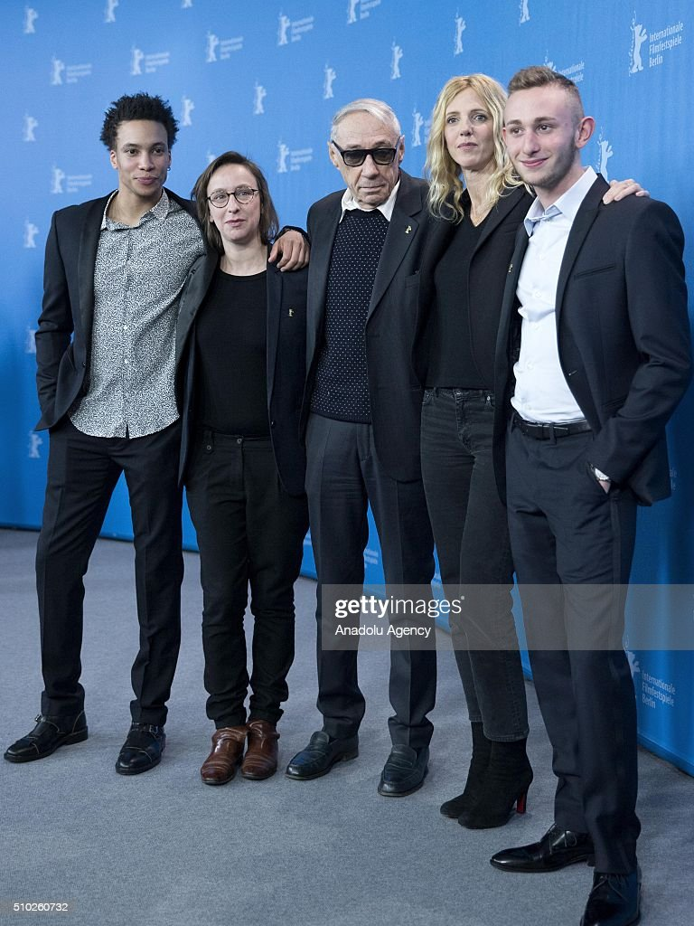 Director Andre Techine (C), writer Celine Sciamma (2nd L), actors Corentin Fila (L) and Kacey Mottet (R) and actress Sandrine Kiberlain (2nd R) attend the 'Being 17' photo call during the 66th Berlinale International Film Festival Berlin at Grand Hyatt Hotel in Berlin, Germany on February 14, 2016.