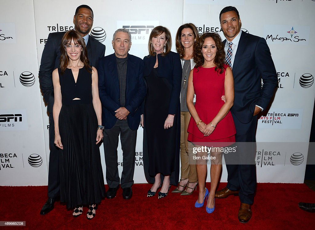 Director Andrea Nevins, executive producer Michael Strahan, Tribeca Film Festival Co-founder Robert De Niro, Tribeca Film Festival Co-founder Jane Rosenthal, producer Cristan Reilly, executive producer Constance Schwartz, and Tony Gonzalez attend the Tribeca/ESPN Sports Film Festival Gala for the premiere of 'Play It Forward' during the 2015 Tribeca Film Festival at BMCC Tribeca PAC on April 16, 2015 in New York City.