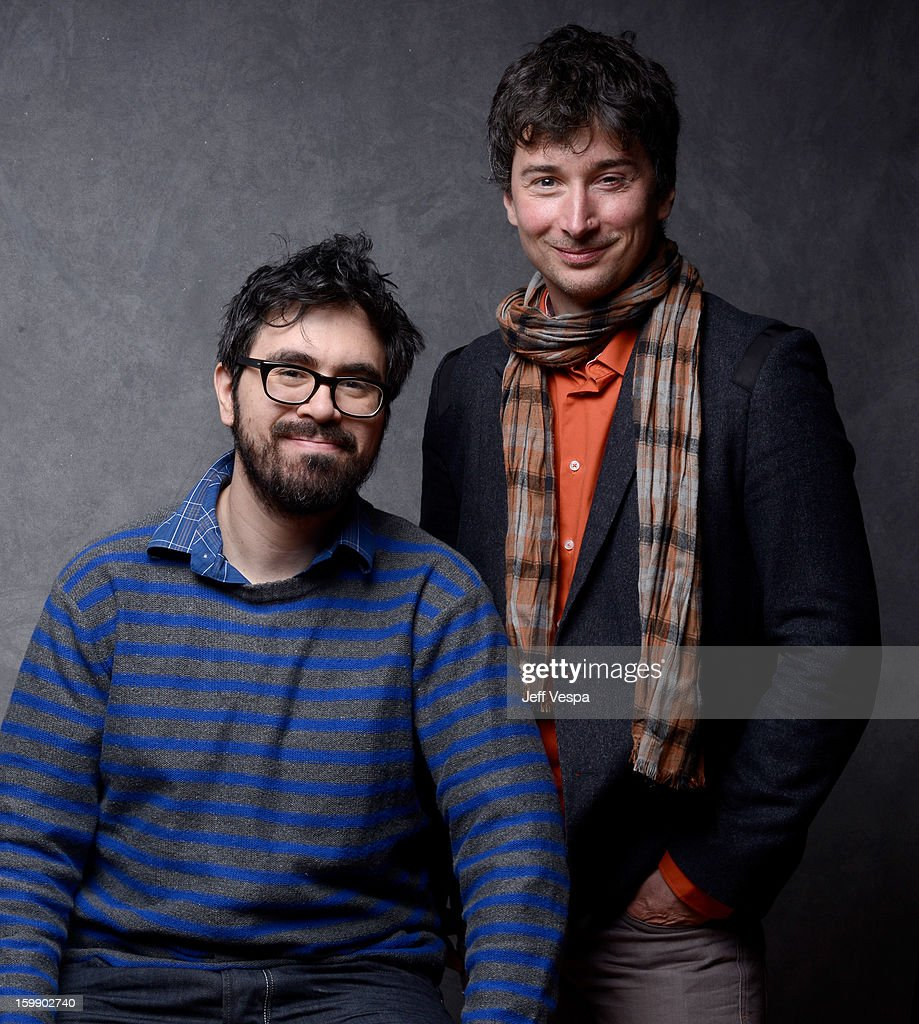 Director Andrew Bujalski (L) and Cinematographer Matthias Grunsky pose for a portrait during the 2013 Sundance Film Festival at the WireImage Portrait Studio at Village At The Lift on January 22, 2013 in Park City, Utah.