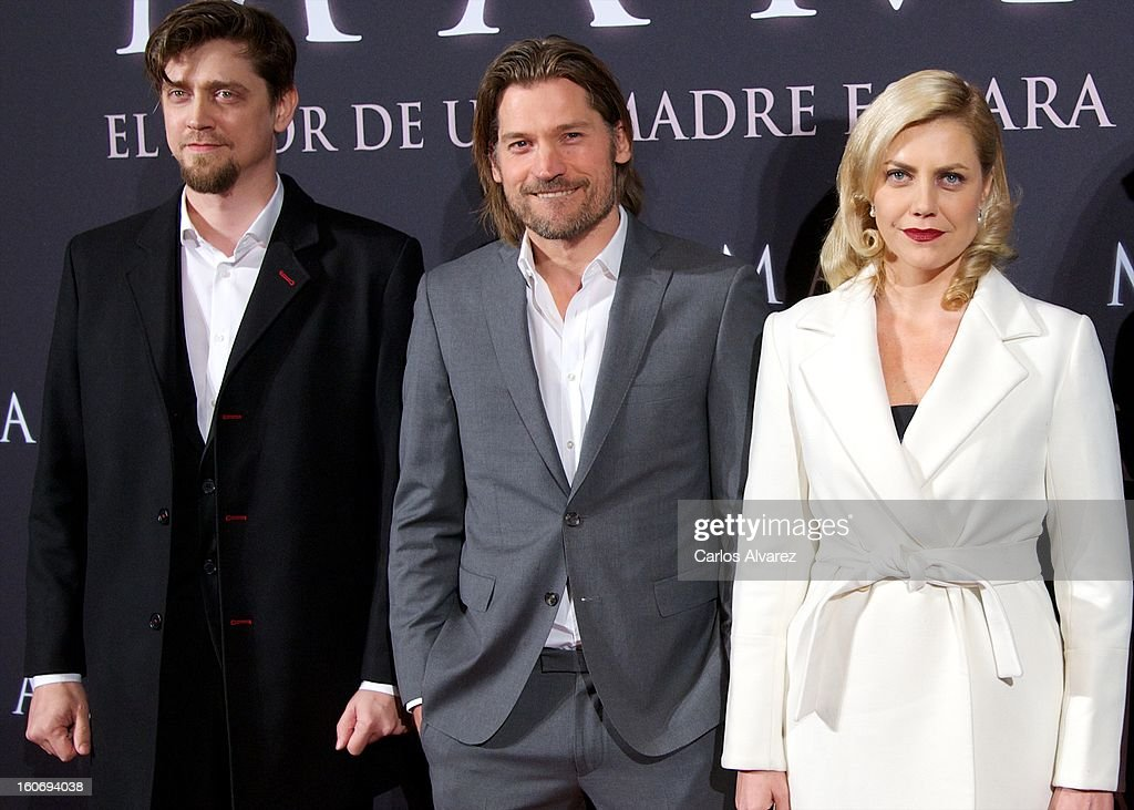 Director Andy Muschietti, actor Nikolaj Coster-Waldau and producer Barbara Muschietti attend the 'Mama' premiere at the Callao cinema on February 4, 2013 in Madrid, Spain.