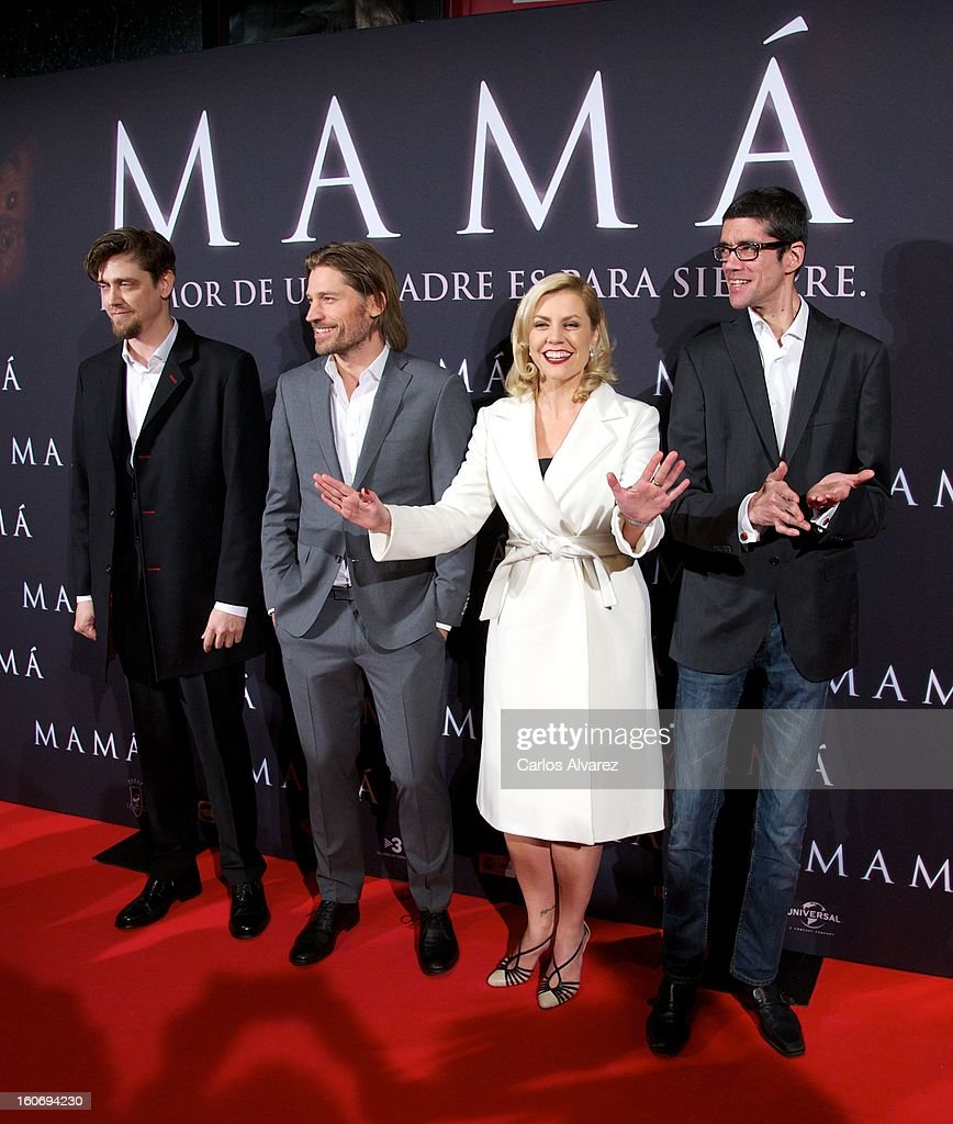 Director Andy Muschietti, actor Nikolaj Coster-Waldau, producer Barbara Muschietti and Spanish actor Javier Botet attend the 'Mama' premiere at the Callao cinema on February 4, 2013 in Madrid, Spain.