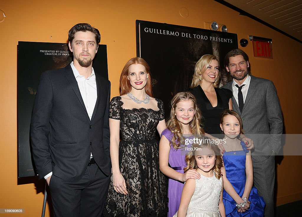 Director Andy Muschietti, <a gi-track='captionPersonalityLinkClicked' href=/galleries/search?phrase=Jessica+Chastain&family=editorial&specificpeople=653192 ng-click='$event.stopPropagation()'>Jessica Chastain</a>, Megan Charpentier, Morgan McGarry, Isabelle Nelisse, producer Barbara Muschietti and Nicolaj Coster-Waldau attend the 'Mama' screening at Landmark's Sunshine Cinema on January 7, 2013 in New York City.