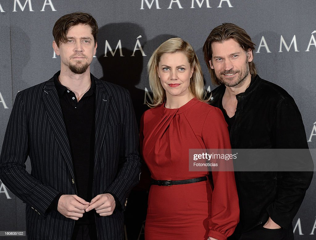Director Andy Muschietti, producer Barbara Muschietti and actor Nikolaj Coster-Waldau attend a photocall for 'Mama' at the Villamagna Hotel on February 4, 2013 in Madrid, Spain.