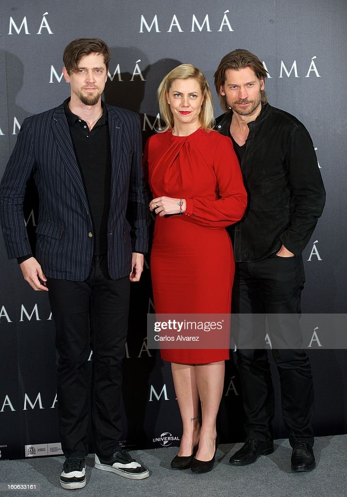 Director Andy Muschietti, producer Barbara Muschietti and actor Nikolaj Coster-Waldau attend the 'Mama' photocall at the on February 4, 2013 in Madrid, Spain.
