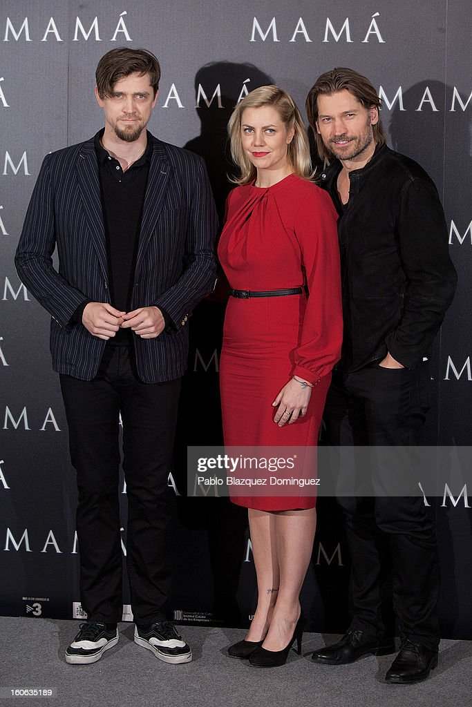 Director Andy Muschietti, producer Barbara Muschietti and actor Nikolaj Coster-Waldau attends the 'Mama' photocall at Villamagna Hotel on February 4, 2013 in Madrid, Spain.