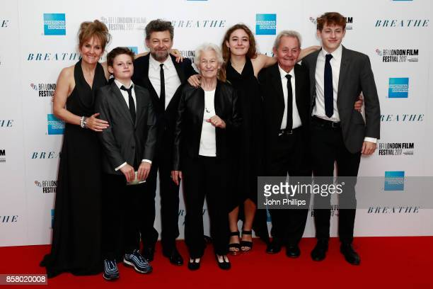 Director Andy Serkis his wife Lorraine Ashbourne and family attend the European Premiere of 'Breathe' on the opening night gala of the 61st BFI...
