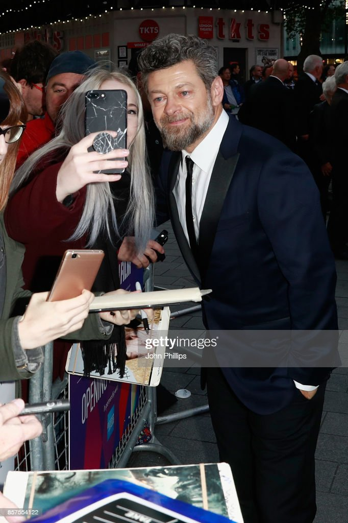 Director Andy Serkis poses with a fan as he attends the European Premiere of 'Breathe' on the opening night gala of the 61st BFI London Film Festival on October 4, 2017 in London, England.