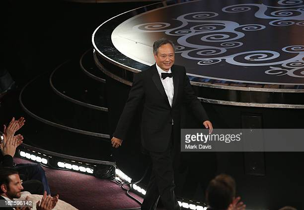 Director Ang Lee accepts the Best Director award for 'Life of Pi' for onstage during the Oscars held at the Dolby Theatre on February 24 2013 in...
