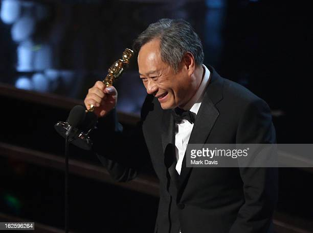 Director Ang Lee accepts the Best Director award for 'Life of Pi' onstage during the Oscars held at the Dolby Theatre on February 24 2013 in...
