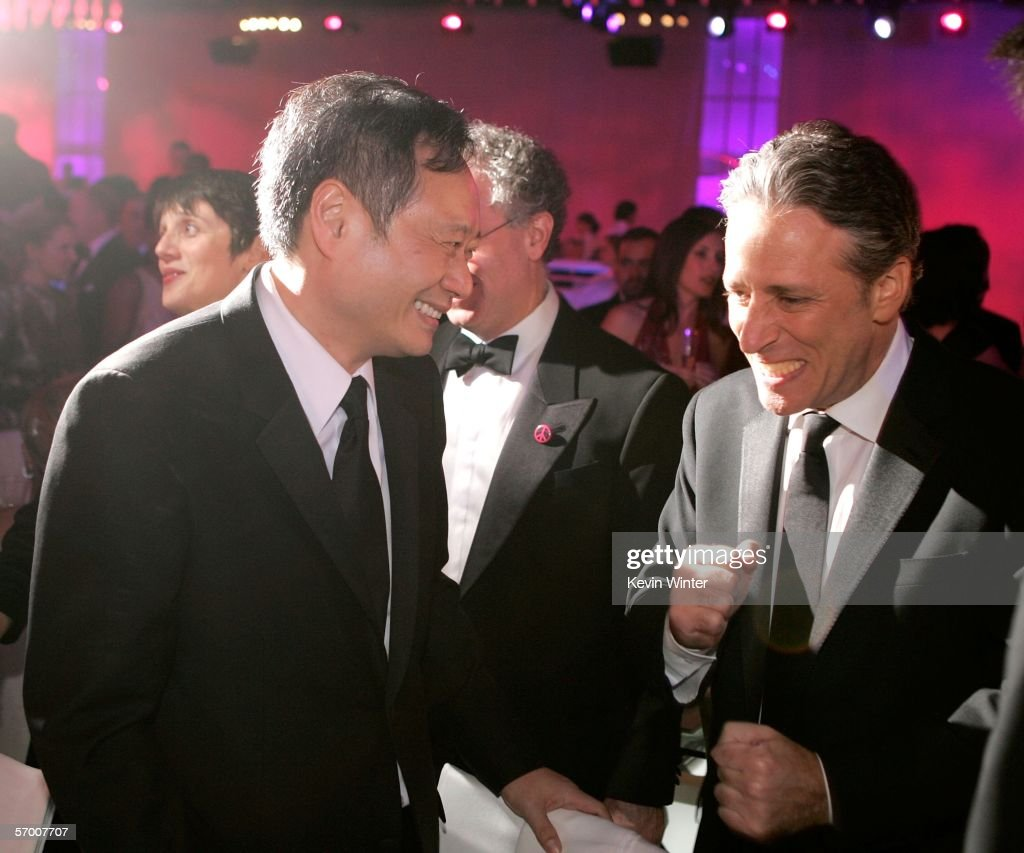 Director Ang Lee and actor Jon Stewart attend the Governor's Ball after the 78th Annual Academy Awards at The Highlands on March 5, 2006 in Hollywood, California.