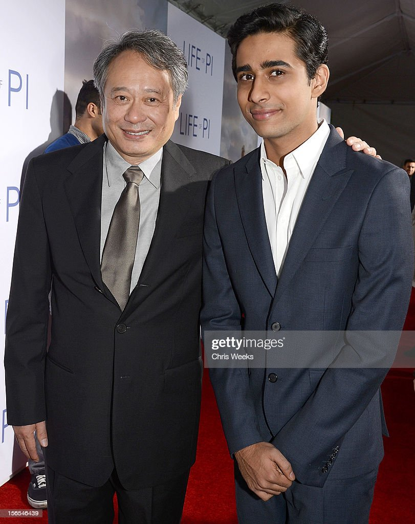 Director <a gi-track='captionPersonalityLinkClicked' href=/galleries/search?phrase=Ang+Lee&family=editorial&specificpeople=215104 ng-click='$event.stopPropagation()'>Ang Lee</a> and actor Suraj Sharma arrive at a special screening for 20th Century Fox and Fox 2000's 'Life Of Pi' at Zanuck Theater at 20th Century Fox Lot on November 16, 2012 in Los Angeles, California.