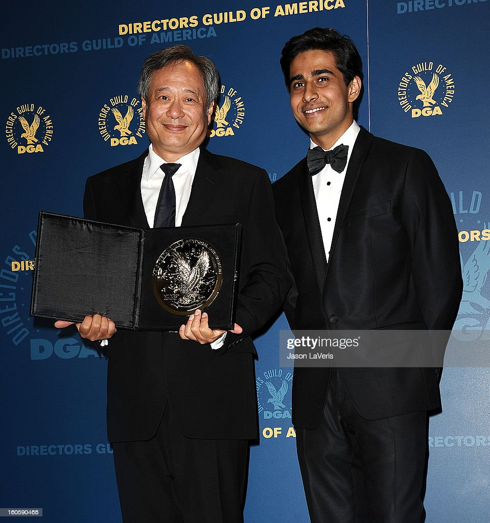 Director <a gi-track='captionPersonalityLinkClicked' href=/galleries/search?phrase=Ang+Lee&family=editorial&specificpeople=215104 ng-click='$event.stopPropagation()'>Ang Lee</a> and actor <a gi-track='captionPersonalityLinkClicked' href=/galleries/search?phrase=Suraj+Sharma&family=editorial&specificpeople=9768453 ng-click='$event.stopPropagation()'>Suraj Sharma</a> pose in the press room at the 65th annual Directors Guild Of America Awards at The Ray Dolby Ballroom at Hollywood & Highland Center on February 2, 2013 in Hollywood, California.