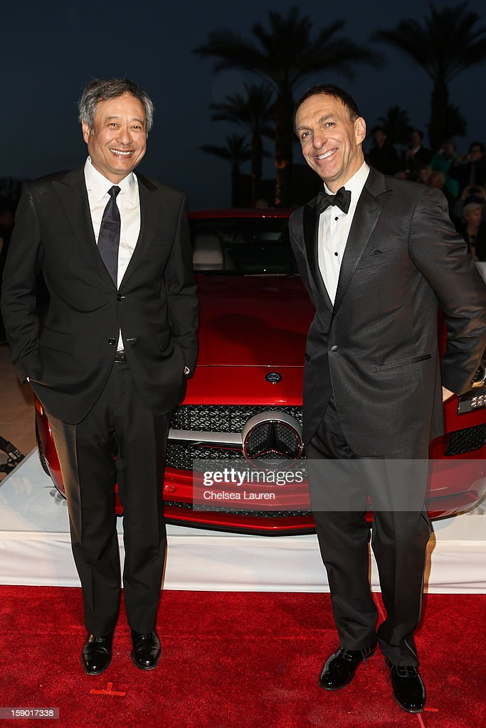 Director Ang Lee (L) and composer Mychael Danna arrive in style with Mercedes-Benz at the Palm Springs International Film Festival at the Palm Springs Convention Center on January 5, 2013 in Palm Springs, California.