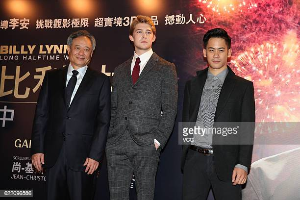 Director Ang Lee British actor Joe Alwyn and actor Mason Lee attend the premiere of Ang Lee's film 'Billy Lynn's Long Halftime Walk' on November 8...