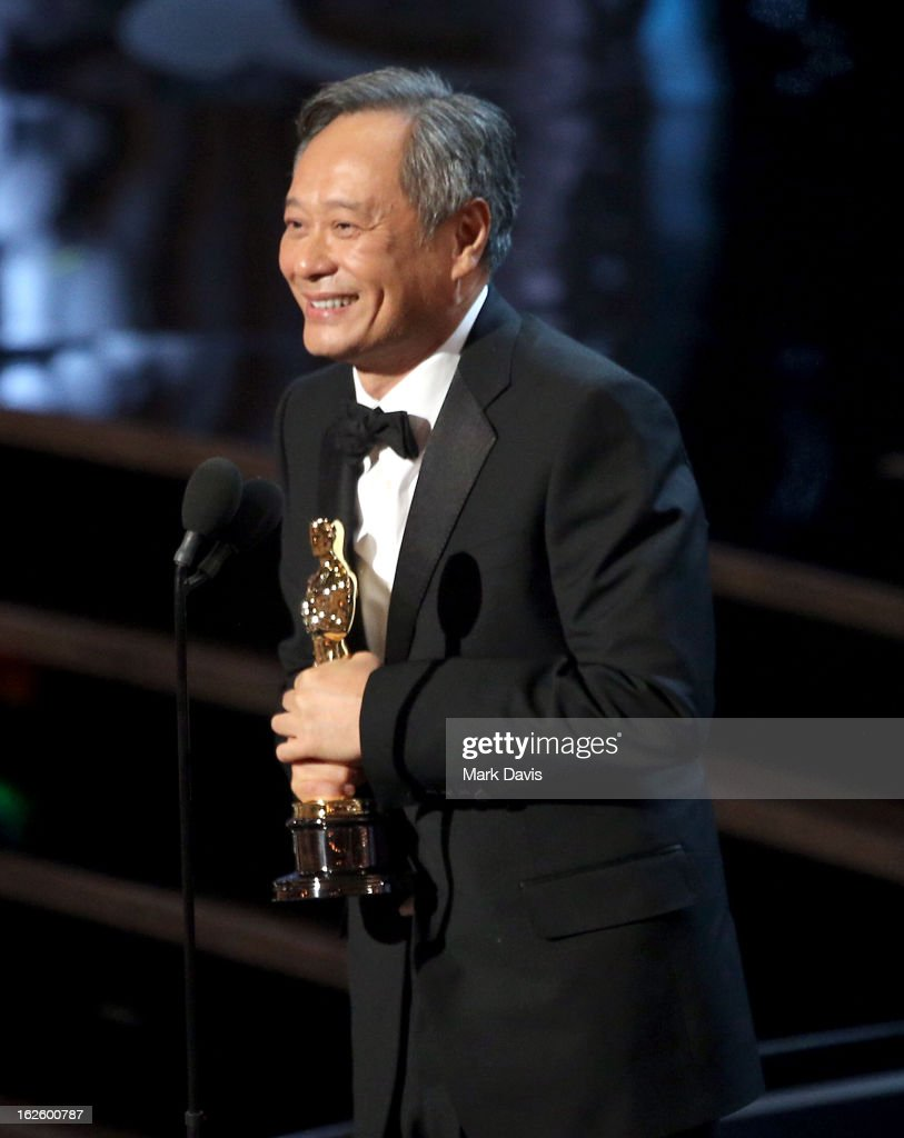 Director <a gi-track='captionPersonalityLinkClicked' href=/galleries/search?phrase=Ang+Lee&family=editorial&specificpeople=215104 ng-click='$event.stopPropagation()'>Ang Lee</a> onstage during the Oscars held at the Dolby Theatre on February 24, 2013 in Hollywood, California.