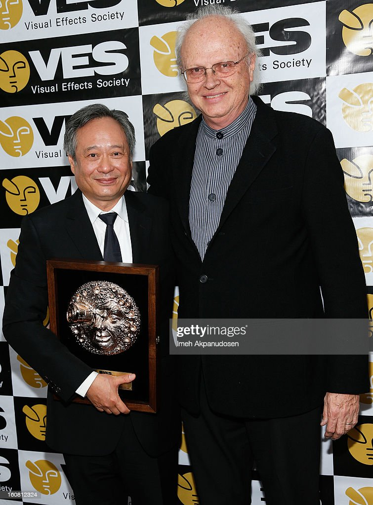 Director <a gi-track='captionPersonalityLinkClicked' href=/galleries/search?phrase=Ang+Lee&family=editorial&specificpeople=215104 ng-click='$event.stopPropagation()'>Ang Lee</a> (L) poses backstage after receiving the VES Visionary Award with visual effects artist <a gi-track='captionPersonalityLinkClicked' href=/galleries/search?phrase=Dennis+Muren&family=editorial&specificpeople=816466 ng-click='$event.stopPropagation()'>Dennis Muren</a> at the 11th Annual Visual Effects Society Awards at The Beverly Hilton Hotel on February 5, 2013 in Beverly Hills, California.