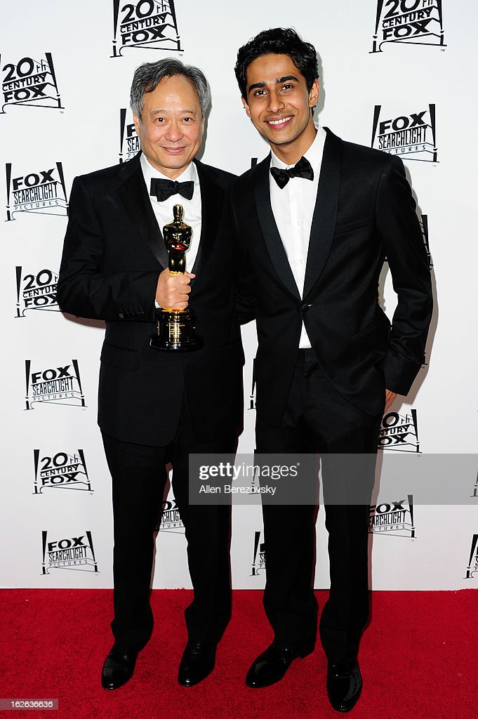 Director Ang Lee, winner of the best director academy award for 'Life of Pi', and actor Suraj Sharma attend the 20th Century FOX and FOX Searchlight Academy Award Nominees Party at Lure on February 24, 2013 in Hollywood, California.
