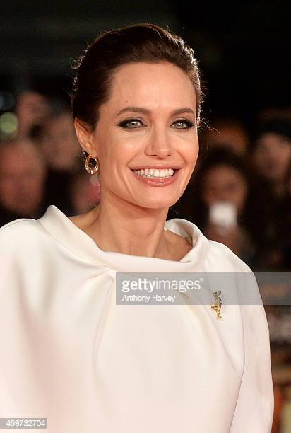 Director Angelina Jolie attends the UK Premiere of 'Unbroken' at Odeon Leicester Square on November 25 2014 in London England