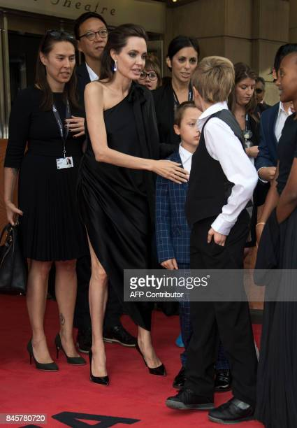 Director Angelina Jolie son Knox Leon JoliePitt and daughter Shiloh Nouvel Joli attend the premiere of 'First they Killed my Father' at the Toronto...