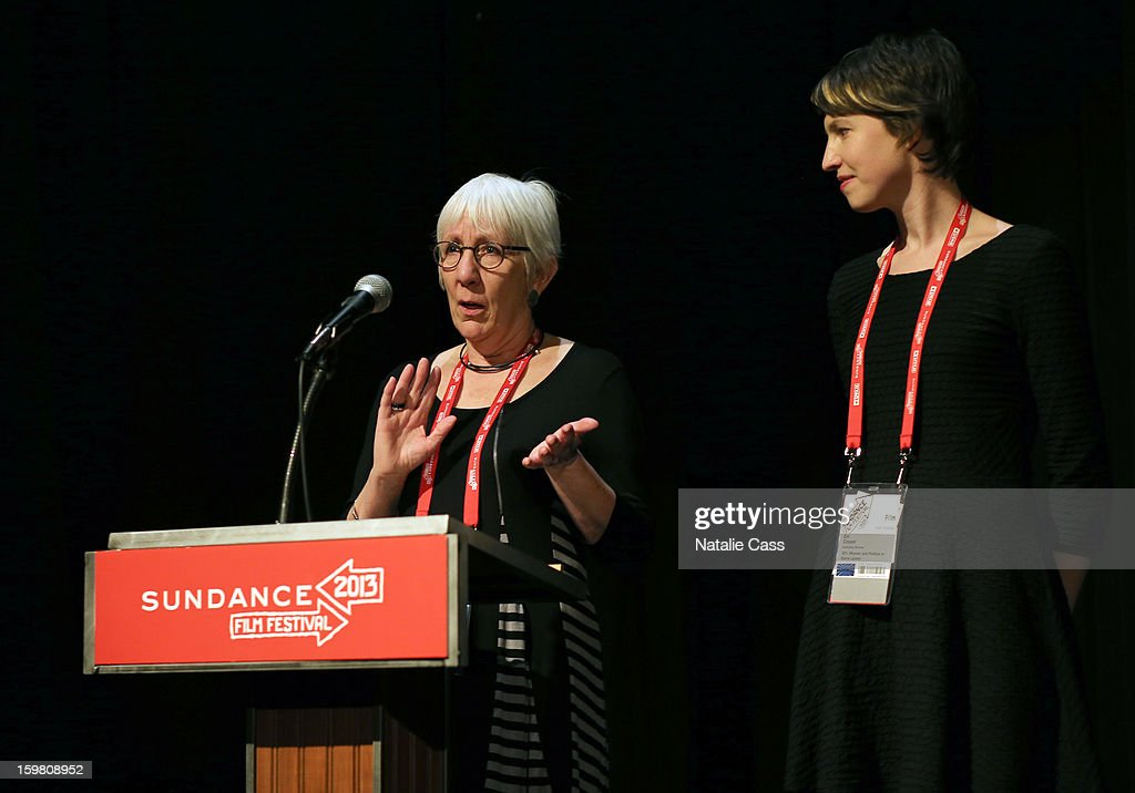 Director Anna Cady and animation director Em Cooper speak onstage during the '99% - The Occupy Wall Street Collaborative Film' premiere at Egyptian Theatre during the 2013 Sundance Film Festival on January 20, 2013 in Park City, Utah.