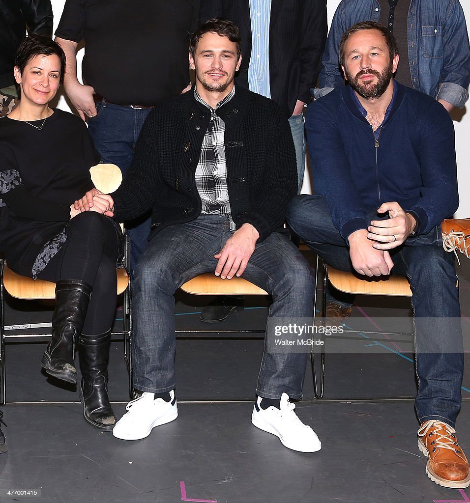 Director Anna D. Shapiro, James Franco and Chris O'Dowd attend the 'Of Mice And Men' press conference at Signature Theatre, Rehearsal Studio 2 on March 6, 2014 in New York City.