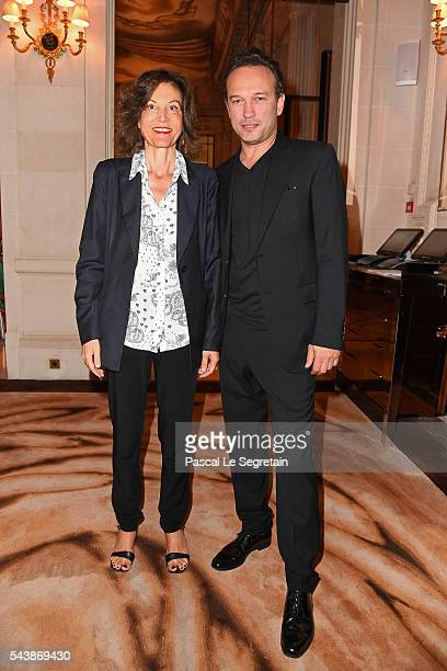 Director Anne Fontaine and Actor Vincent Perez arrive at the 6th Chinese Film Festival Press Conference at Hotel Meurice on June 30 2016 in Paris...