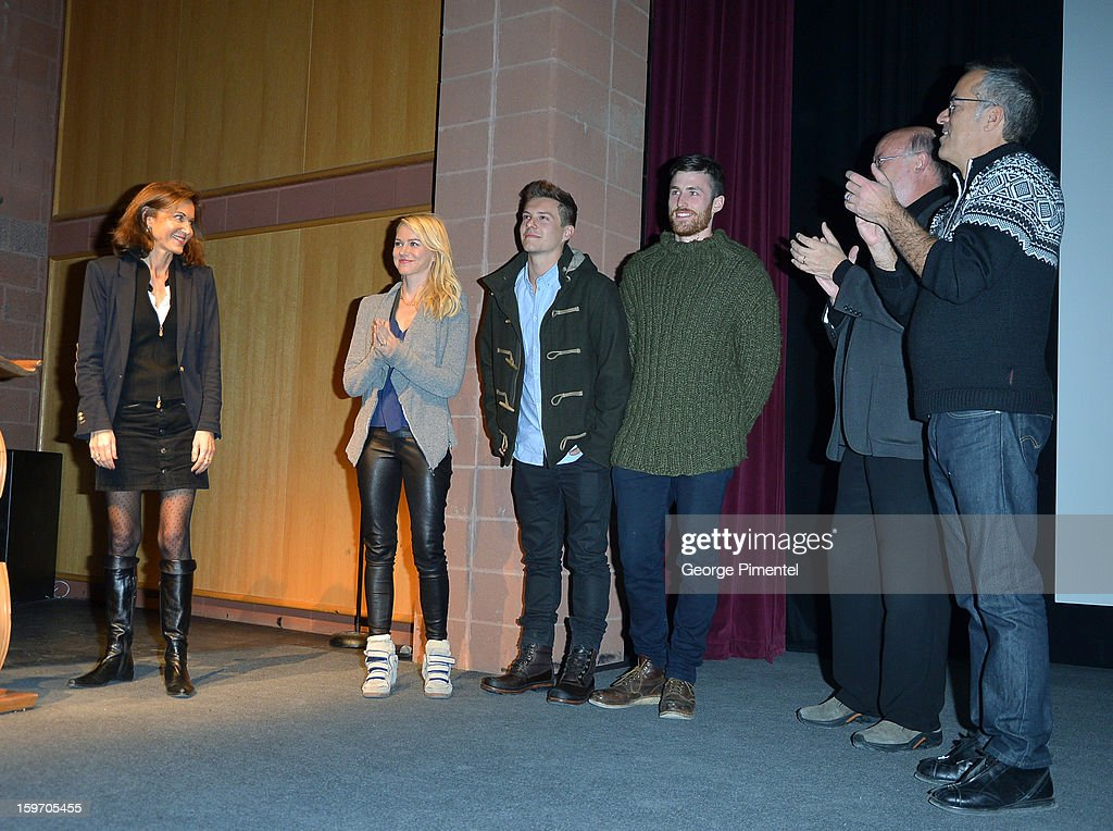 Director Anne Fontaine and actors Naomi Watts, Xavier Samuel, James Frecheville and Director of the Sundance Film Festival John Cooper speak onstage at the 'Two Mothers' Premiere during the 2013 Sundance Film Festival at Eccles Center Theatre on January 18, 2013 in Park City, Utah.