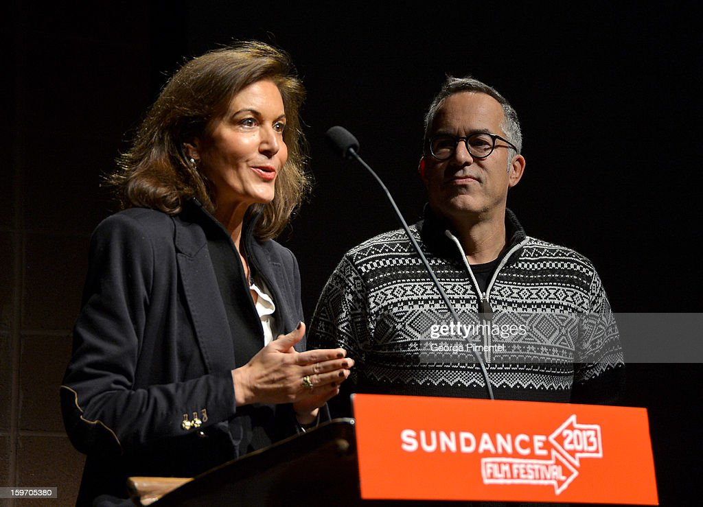Director <a gi-track='captionPersonalityLinkClicked' href=/galleries/search?phrase=Anne+Fontaine&family=editorial&specificpeople=601319 ng-click='$event.stopPropagation()'>Anne Fontaine</a> and Director of the Sundance Film Festival John Cooper speak onstage during the 'Two Mothers' Premiere during the 2013 Sundance Film Festival at Eccles Center Theatre on January 18, 2013 in Park City, Utah.