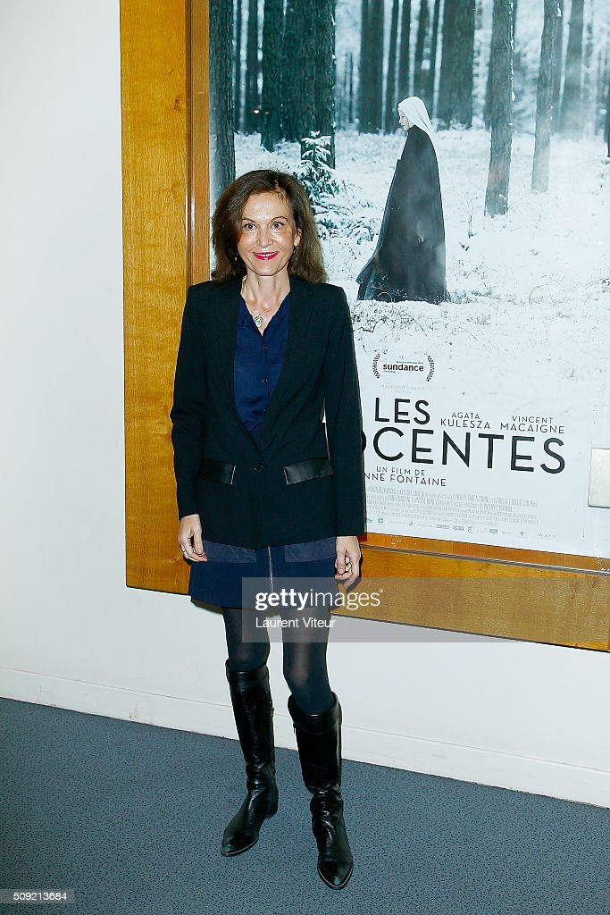 Director Anne Fontaine attends 'Les Innocentes' Paris Premiere at Cinema Arlequin on February 9, 2016 in Paris, France.